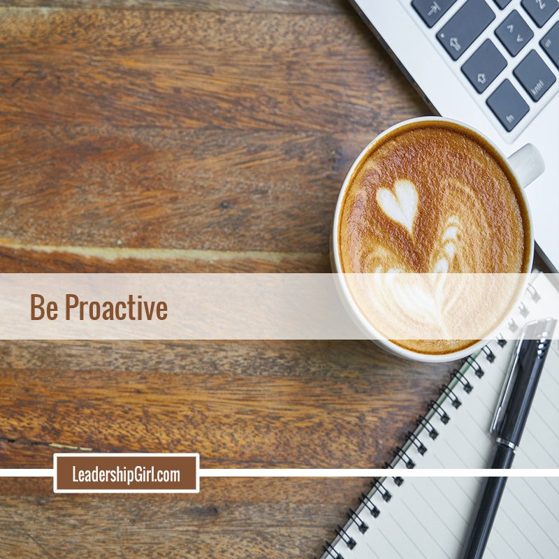 """Be Proactive"" Coffee and Laptop Graphic"