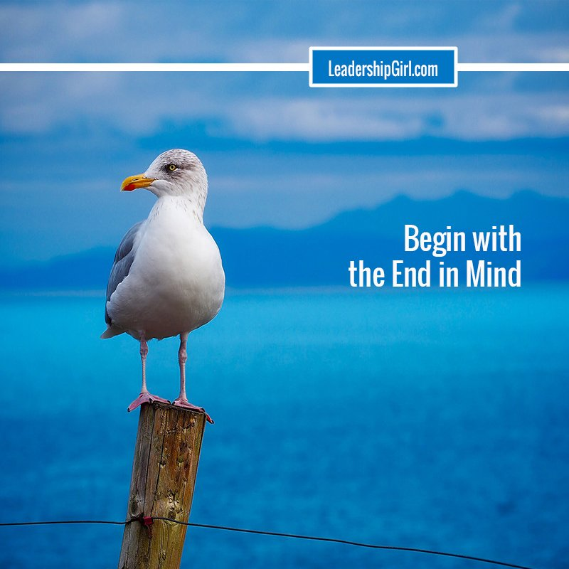 """Begin with the End in Mind"" Seagull on Post Graphic"