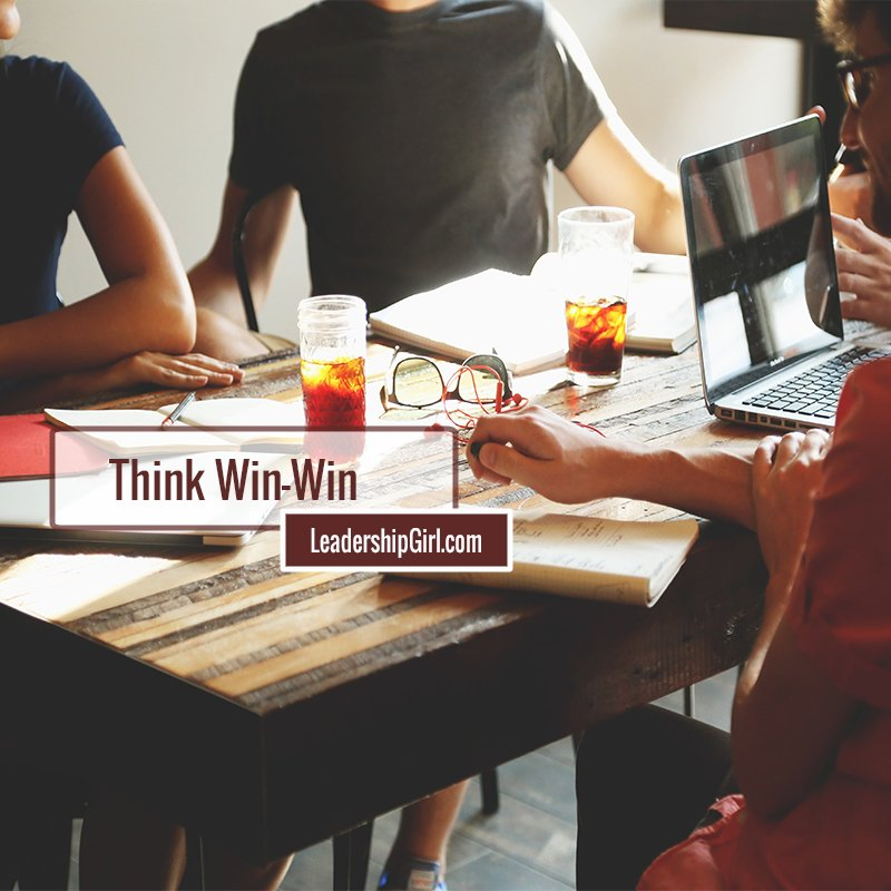 """Think Win-Win"" Group at Restaurant Table Graphic"