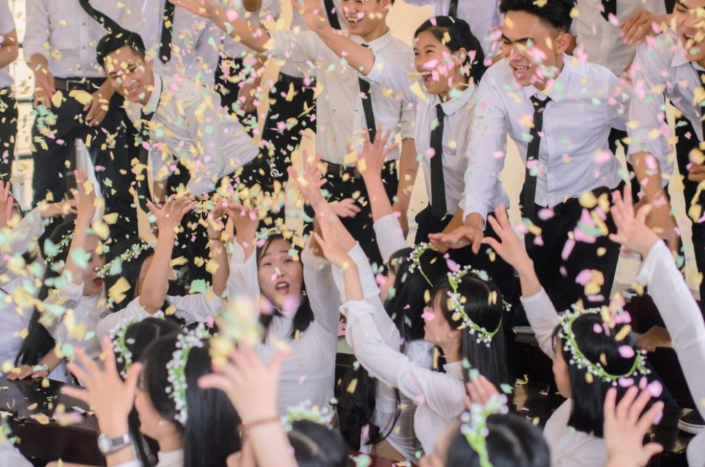 Employees Celebrating with Confetti