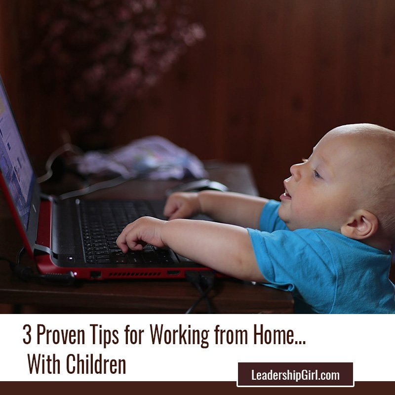"""3 Proven Tips for Working from Home... With Children"" Baby with Laptop"