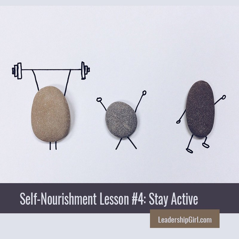 """Self-Nourishment Lesson #4: Stay Active"" Rocks with Exercise Doodles"