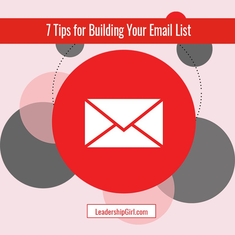 """7 Tips for Building Your Email List"" Red Email Icon and Circle Graphic"
