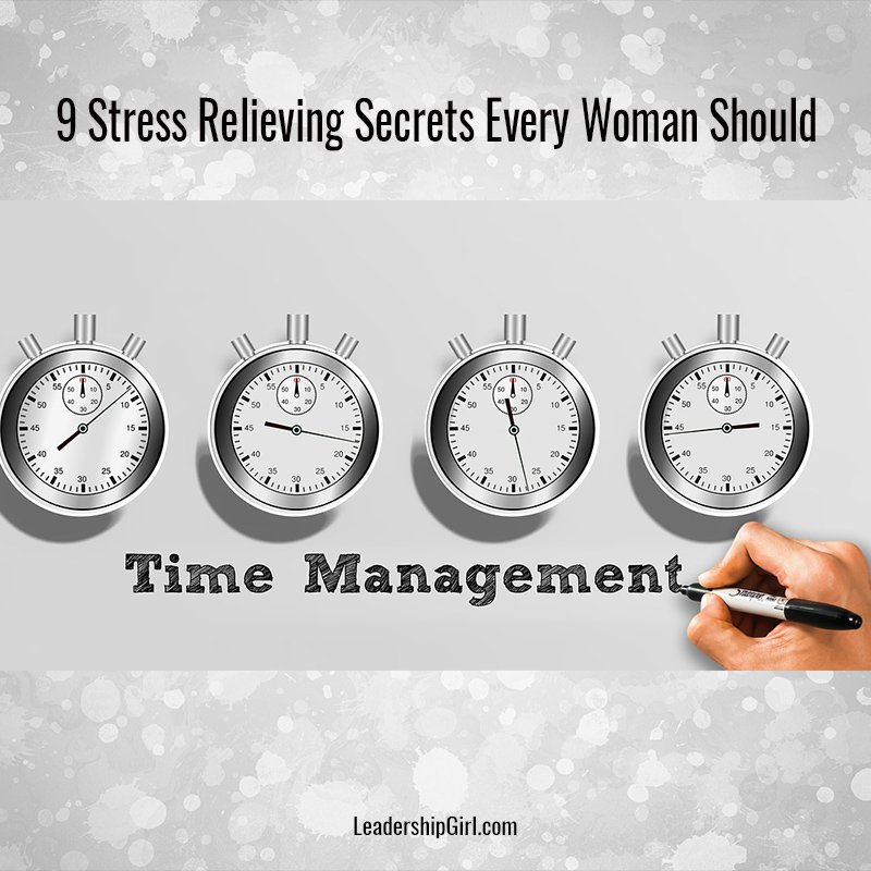 """9 Stress Relieving Secrets Every Woman Should Know"" Time Management Clocks Graphic"