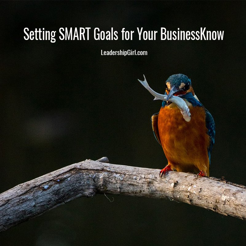 """Setting SMART Goals for Your Business"" Small Bird on Branch Graphic"