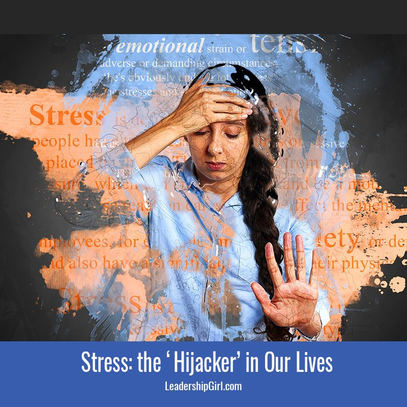 """Stress: the 'Hijacker' in Our Lives"" Stressed Woman with Word Cloud Graphic"
