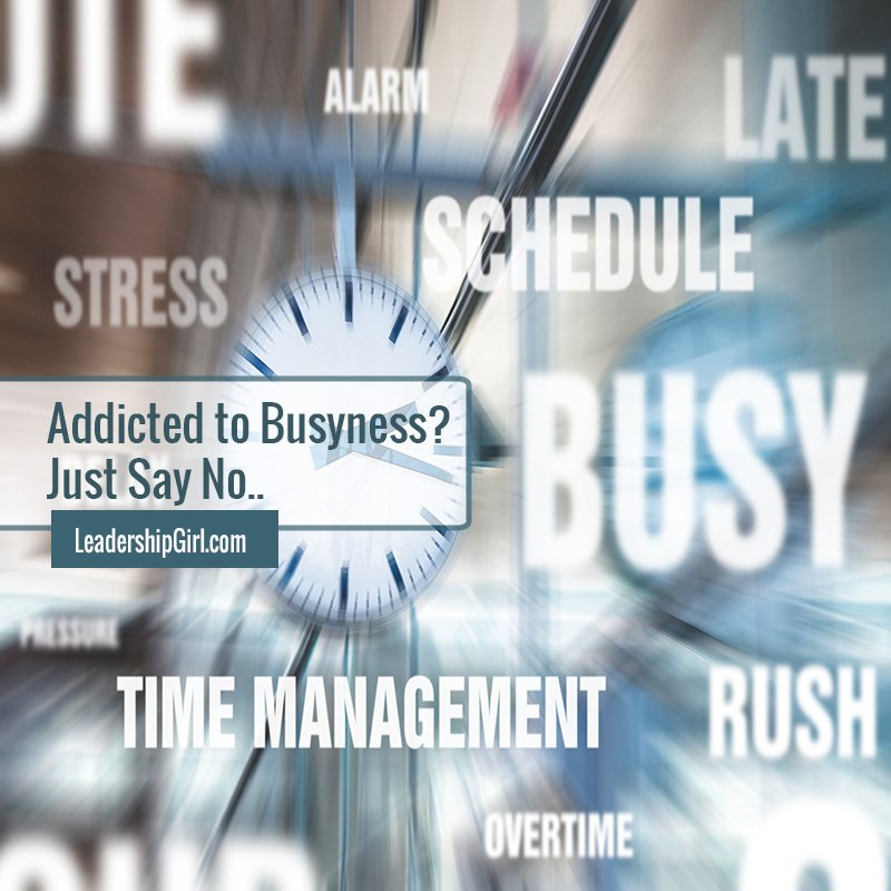 """Addicted to Busyness? Just Say No."" Busyness Word Art Clock Background Graphic"