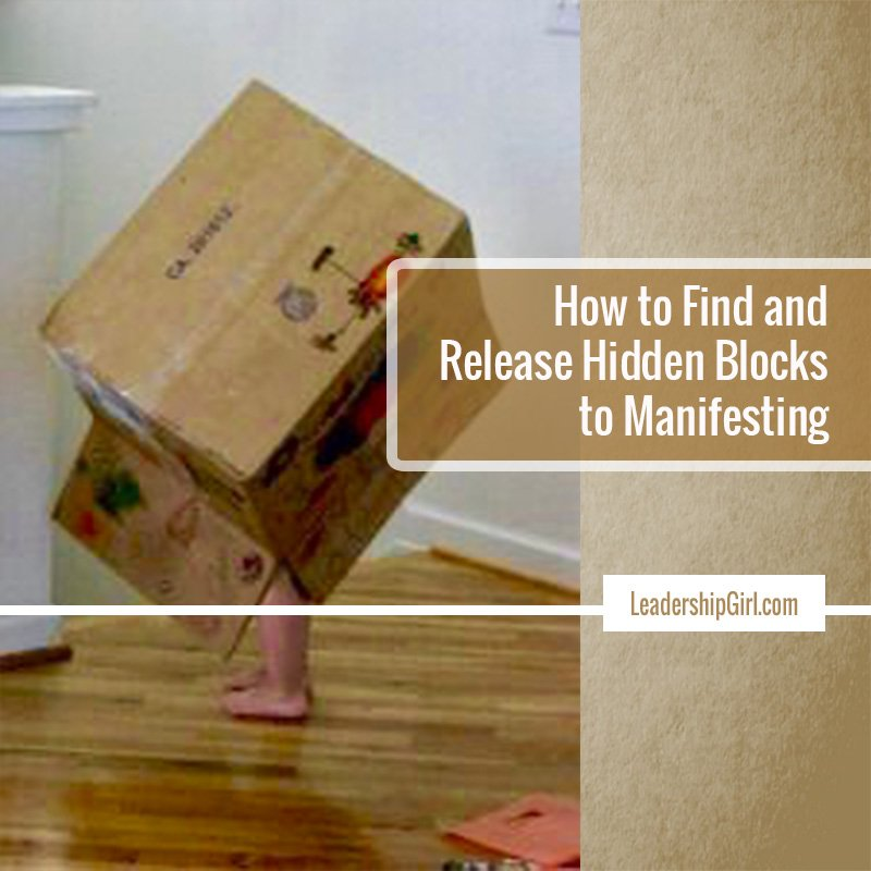 """How to Find and Release Hidden Blocks to Manifesting"" Child Playing in Decorated Box Graphic"