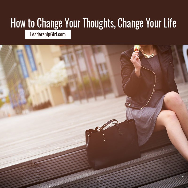 """How to Change Your Thoughts, Change Your Life"" Businesswoman Sitting Outdoors Graphic"