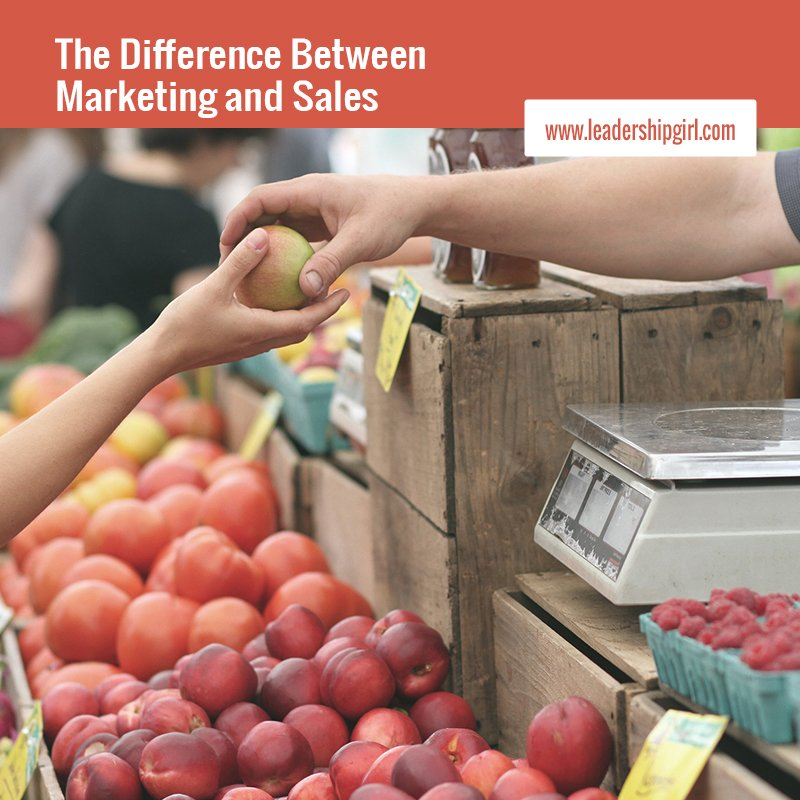 """The Difference Between Marketing and Sales"" Fruit Stand Graphic"