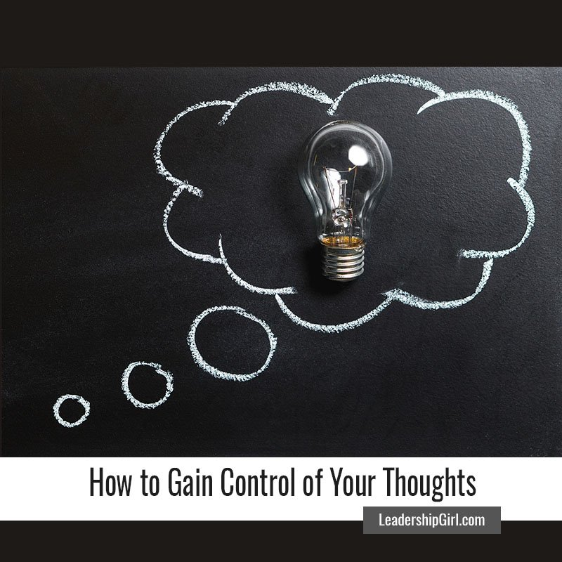 """How to Gain Control of Your Thoughts"" Light Bulb on Chalkboard Thought Bubble Graphic"