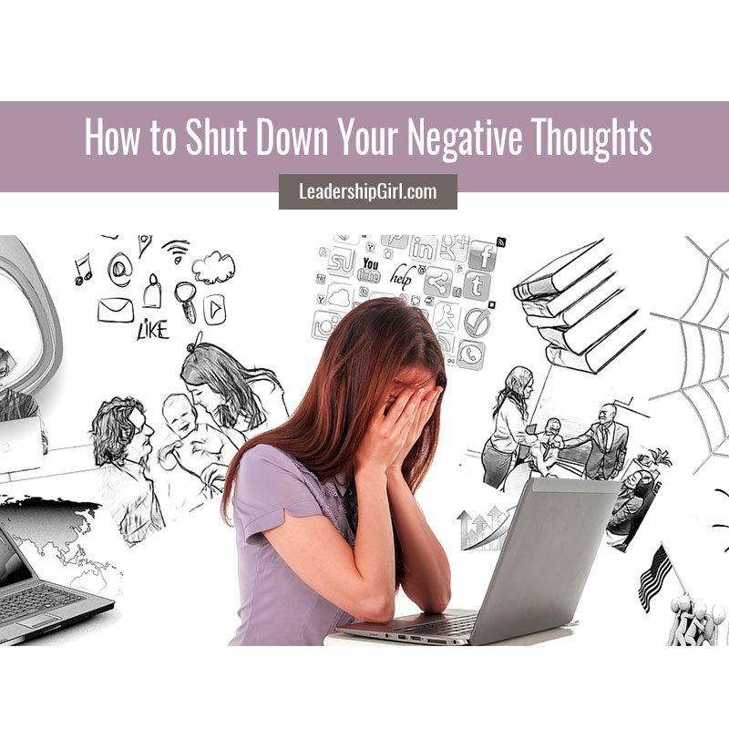 """How to Shut Down Your Negative Thoughts"" Upset Woman Using Laptop with Doodle Background Graphic"