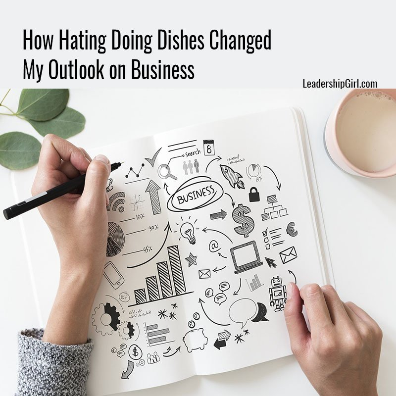 """How Hating Doing Dishes Changed My Outlook on Business"" Woman Doodling in Journal Graphic"