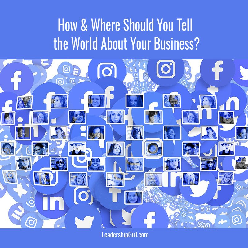 """How & Where Should You Tell the World About Your Business?"" Blue-Toned Social Media Logos and Profile Pictures Graphic"