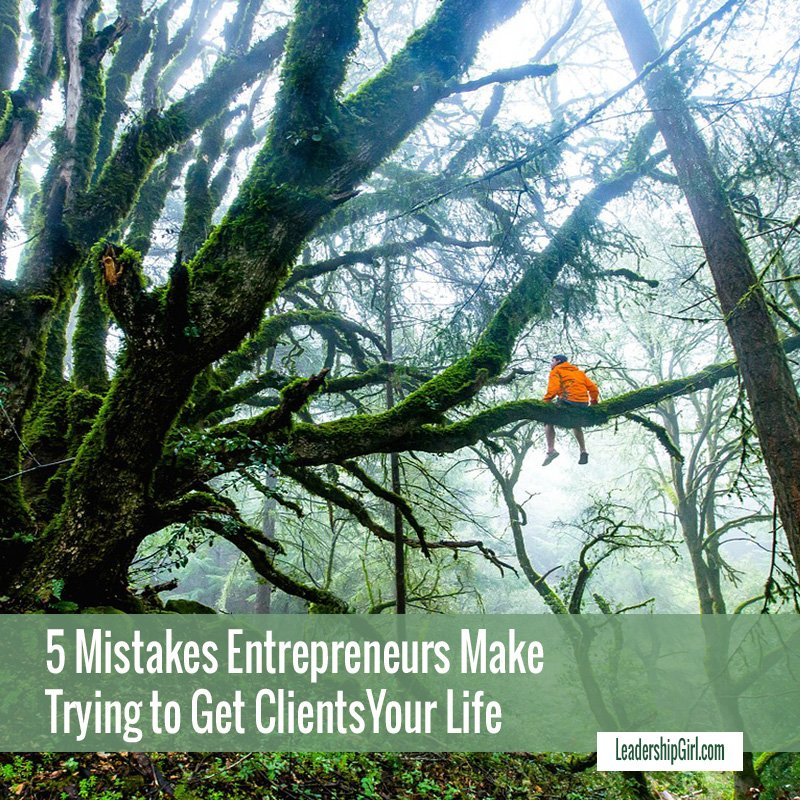 """5 Mistakes Entrepreneurs Make Trying to Get Clients"" Person in a Large Mossy Tree Graphic"