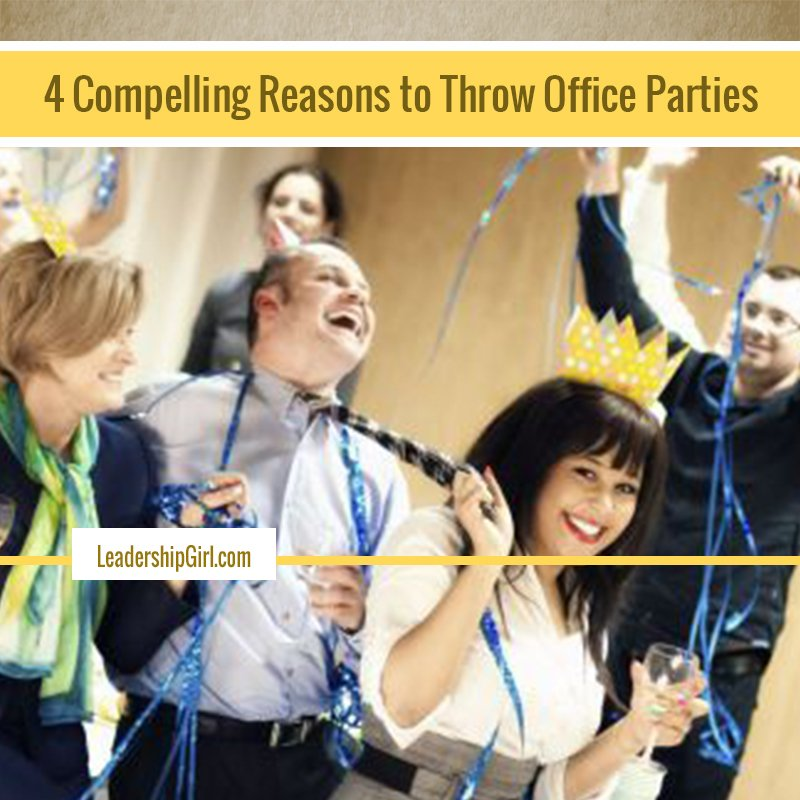 """4 Compelling Reasons to Throw Office Parties"" Office Party Smiling Employees Graphic"