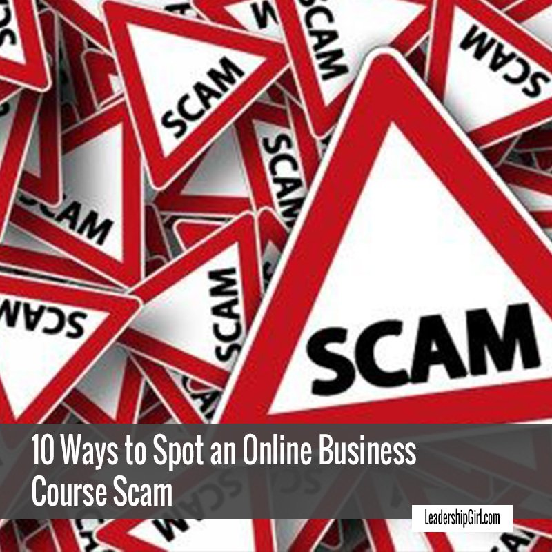"""10 Ways to Spot an Online Business Course Scam"" Red and White Scam Signs Graphic"