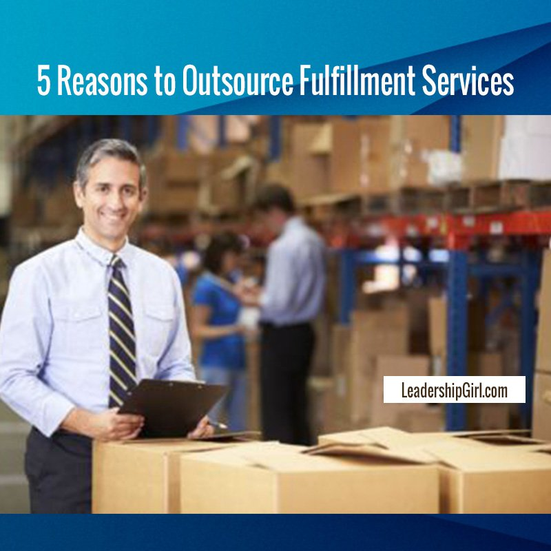 """5 Reasons to Outsource Fulfillment Services"" SMiling Businessman in Warehouse Graphic"
