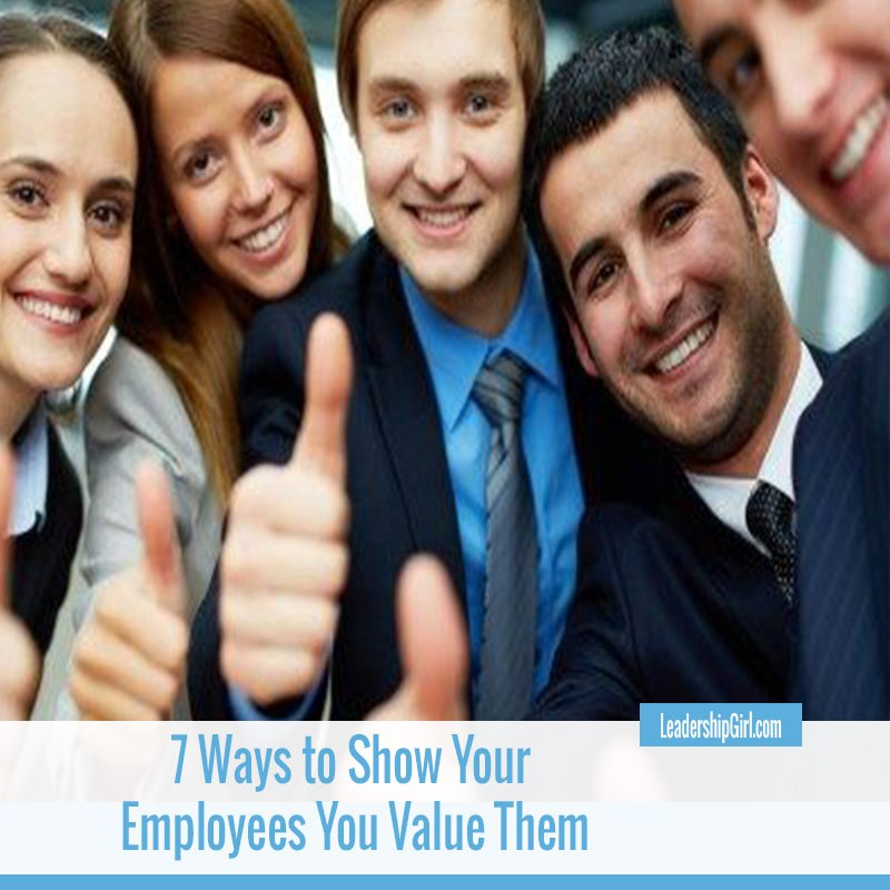 """7 Ways to Show Your Employees You Value Them"" Five Smiling Employees Graphic"