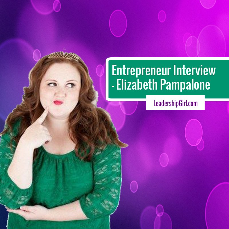 """Entrepreneur Interview - Elizabeth Pampalone"" Elizabeth Pampalone Purple Background Graphic"