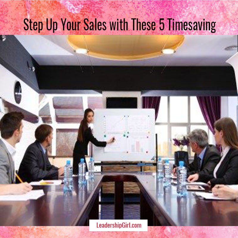 """""""Step Up Your Sales with These 5 Timesaving Tools"""" Meeting with Whiteboard Graphic"""