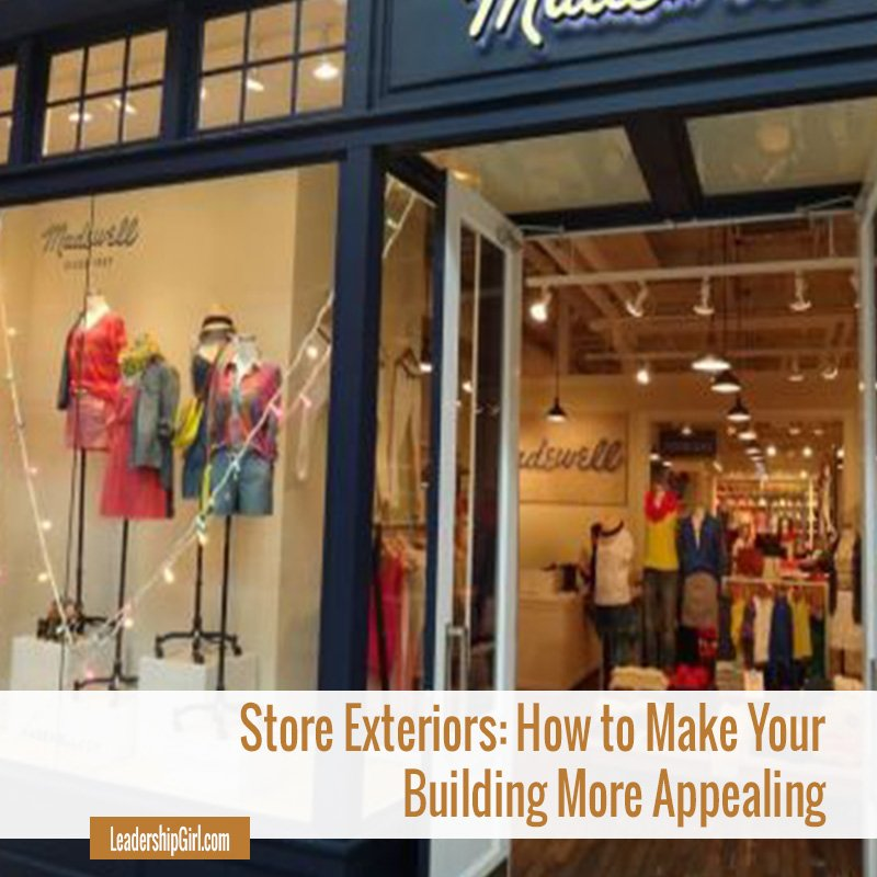 """""""Store Exteriors: How to Make Your Building More Appealing"""" Elegant Clothing Store Storefront Graphic"""