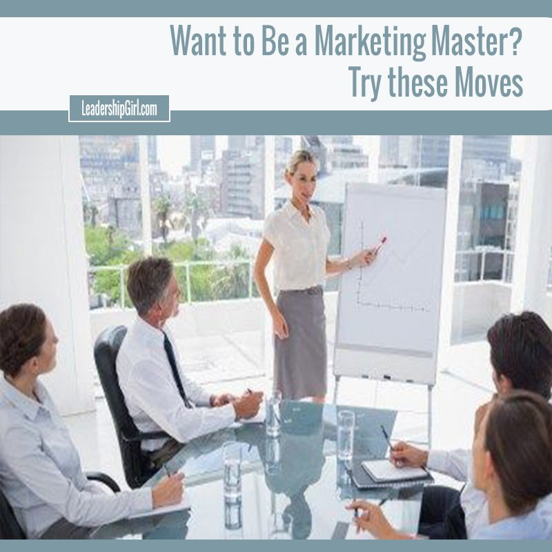 """Want to Be a Marketing Master? Try these Moves"" Meeting in Sleek White Room Graphic"