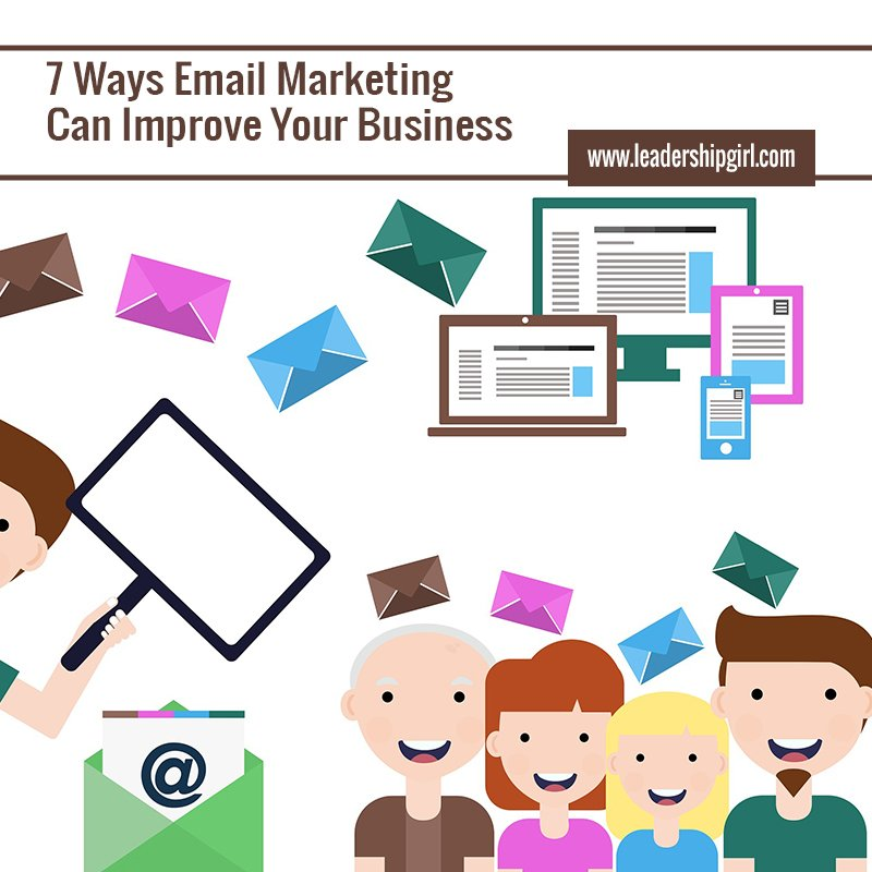 """7 Ways Email Marketing Can Improve Your Business"" Email and Customers Graphic"