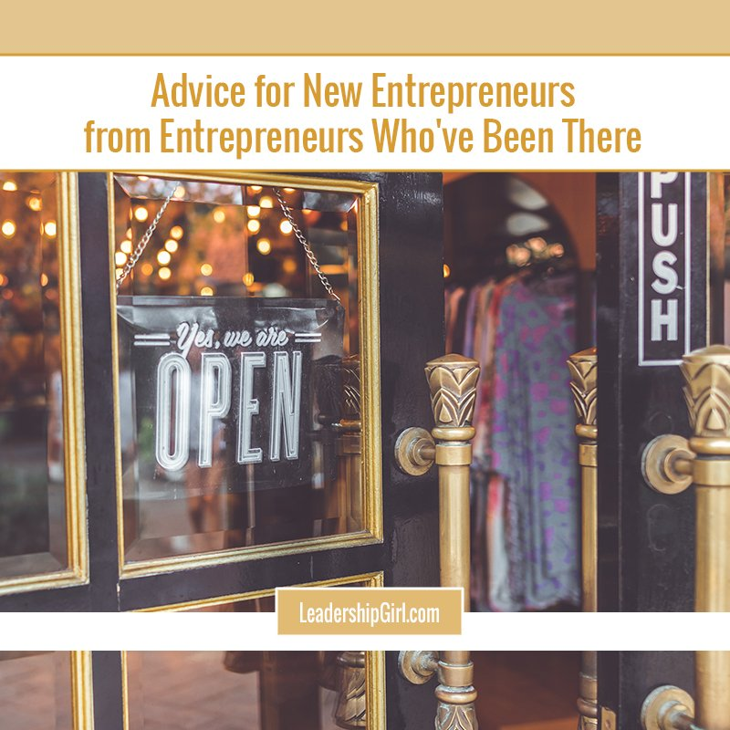 """Advice for New Entrepreneurs from Entrepreneurs Who've Been There"" Small Business Storefront Graphic"