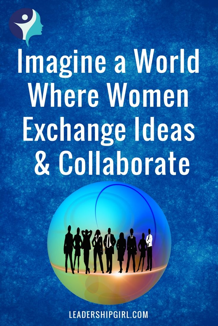"""""""Can You Imagine a Place Where Women Exchange Ideas and Collaborate?"""" Group of Businesspeople Blue Background"""