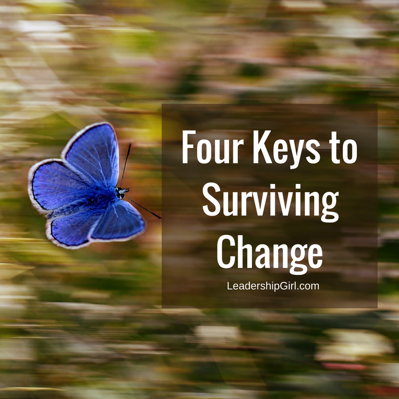 """Four Keys to Surviving Change"" Flying Blue Butterfly Graphic"