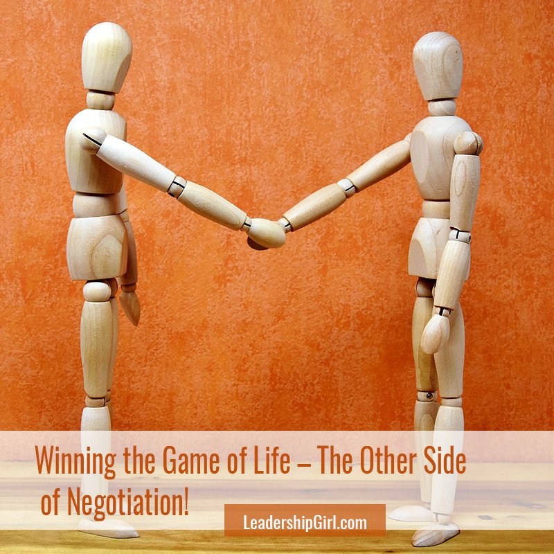 """""""Winning the Game of Life – The Other Side of Negotiation!"""" Two Artist's Figures Shaking Hands"""