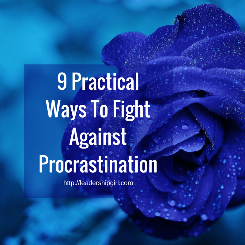 """9 Practical Ways To Fight Against Procrastination"" Blue Rose Graphic"