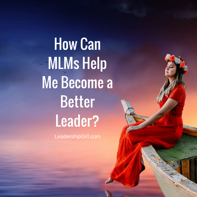 """How Can MLMs Help Me Become a Better Leader?"" Woman in Red Dress on Boat Graphic"