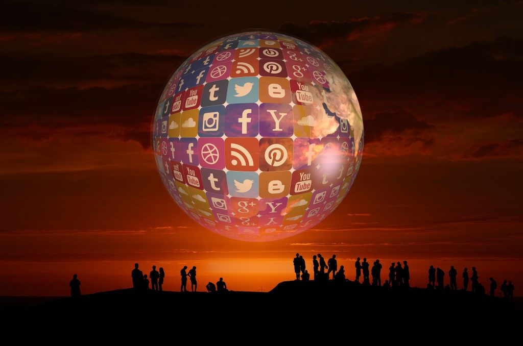 Social Media Logo Globe on Sunset Sky