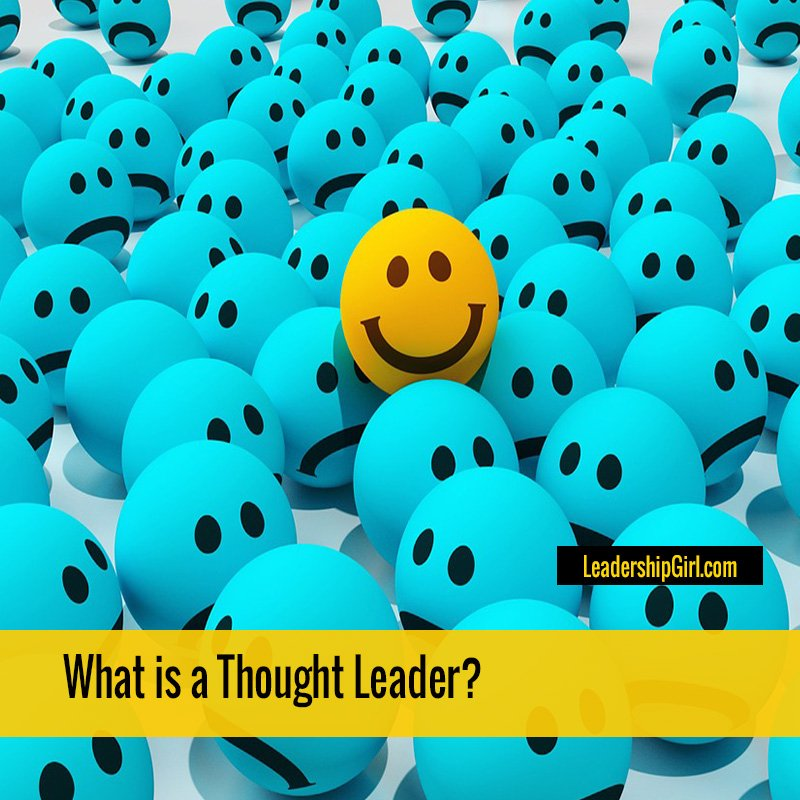 """What is a Thought Leader?"" Smiling Yellow Face in Sad Blue Faces Graphic"