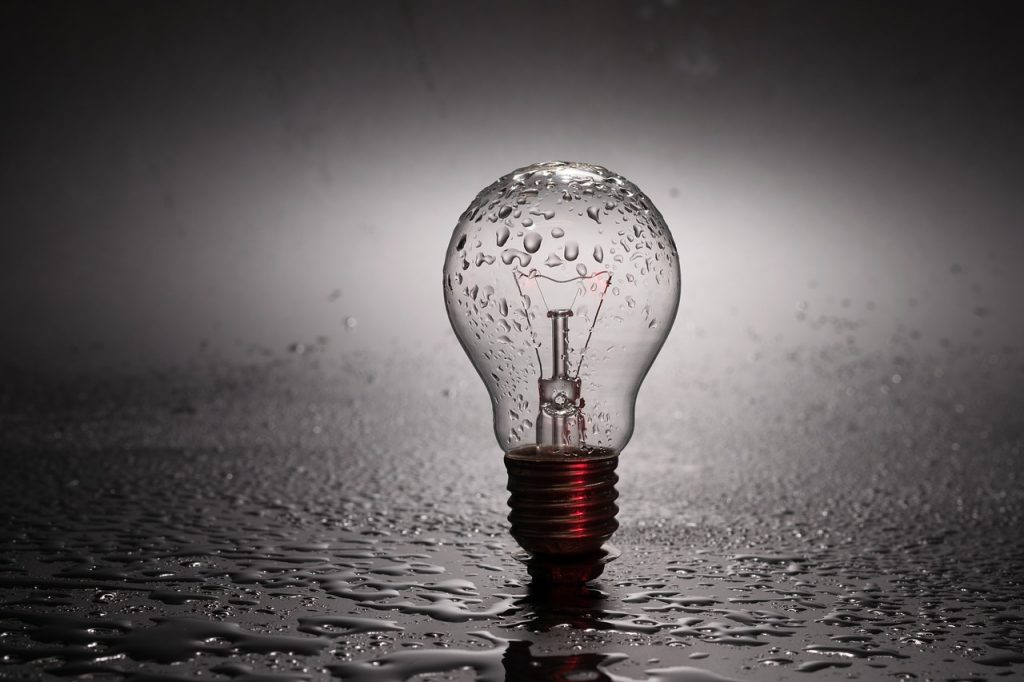 Off Bulb with Rain Drops