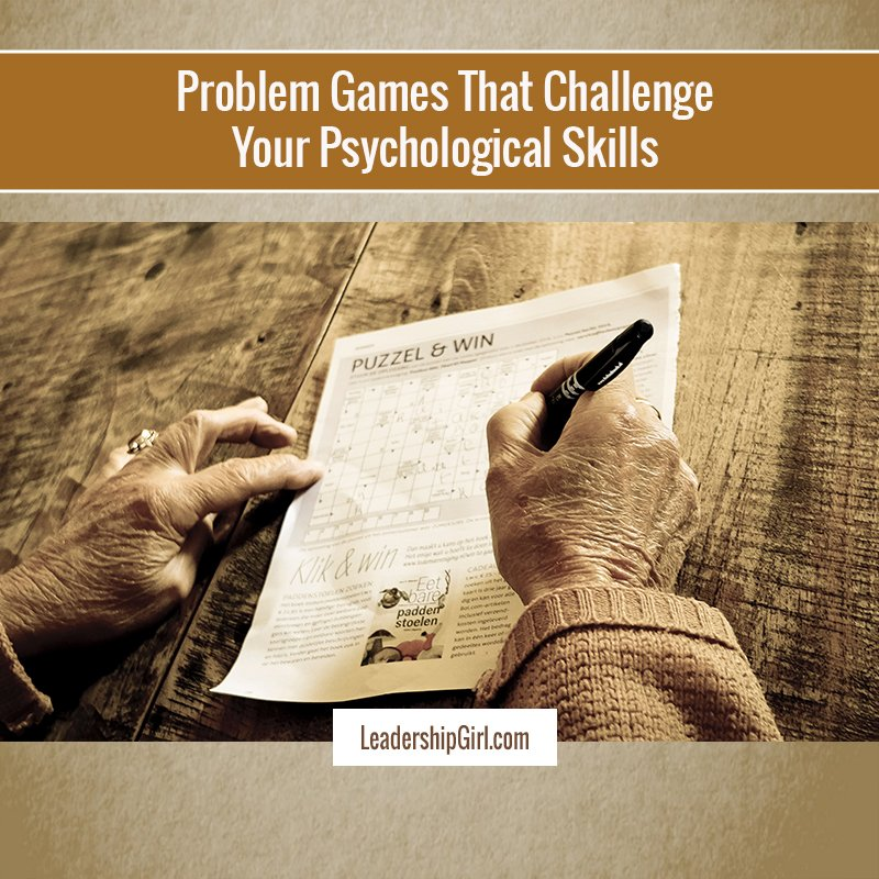 """Problem Games That Challenge Your Psychological Skills"" Crossword Puzzle Graphic"