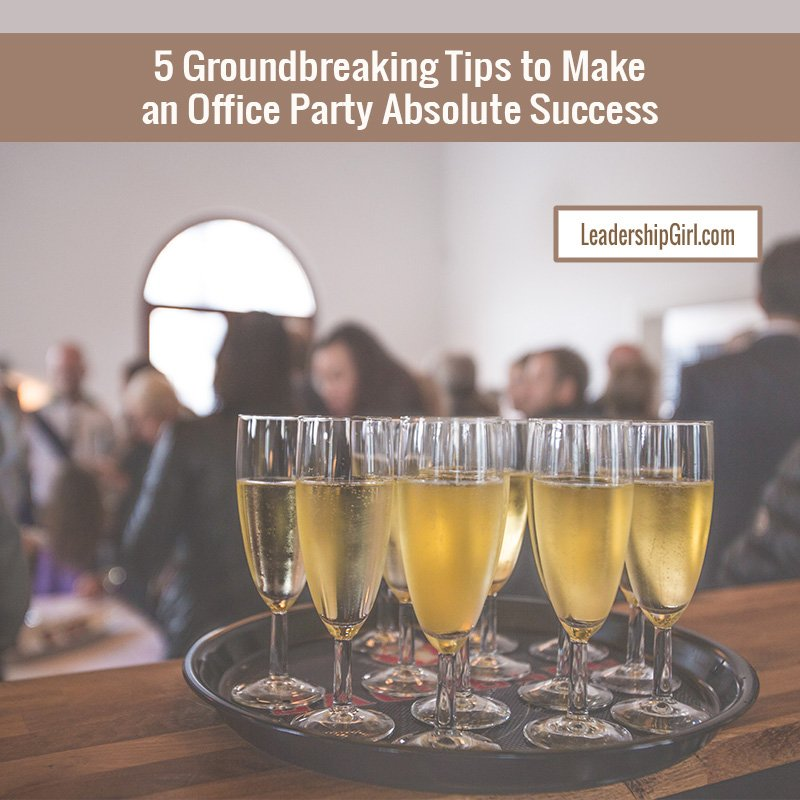 """5 Groundbreaking Tips to Make an Office Party Absolute Success"" Tray of Drinks with People in the Background Graphic"