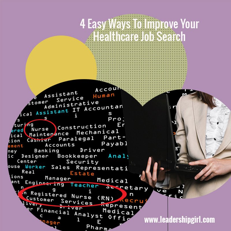 """4 Easy Ways To Improve Your Healthcare Job Search"" WOman Looking for Job Online Graphic"