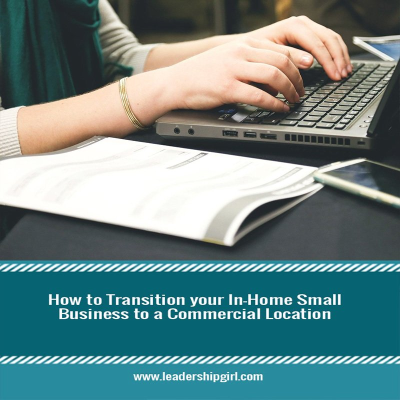 """How to Transition your In-Home Small Business to a Commercial Location"" Laptop on Desk Graphic"
