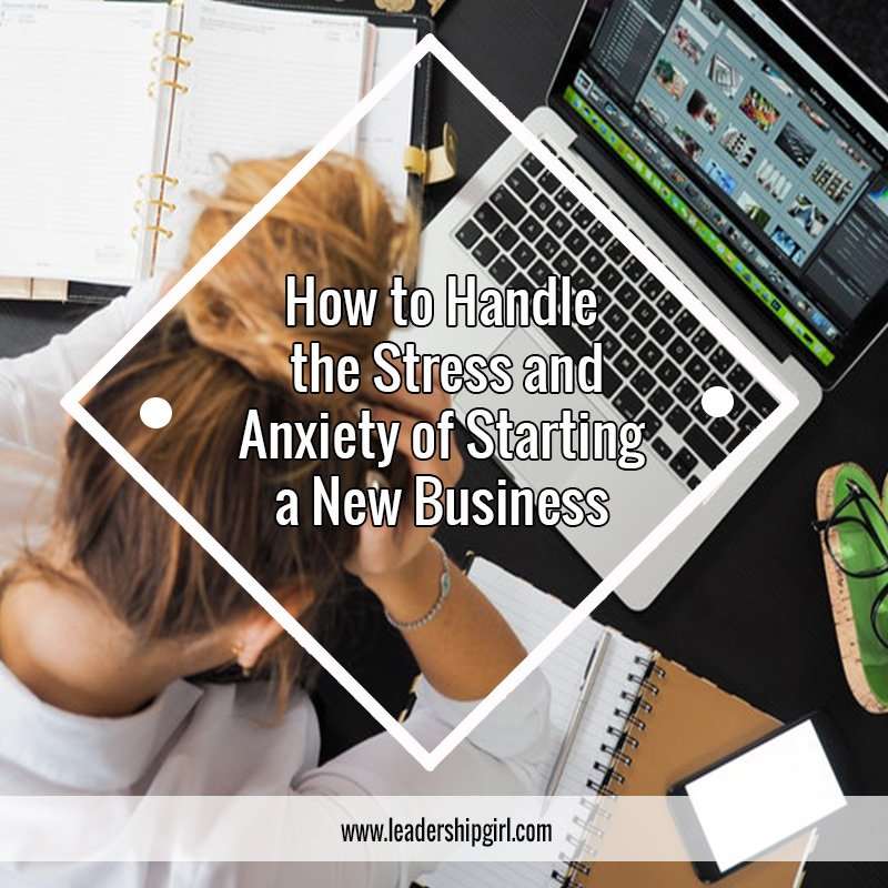 """How to Handle the Stress and Anxiety of Starting a New Business"" Stressed Woman at Desk Graphic"