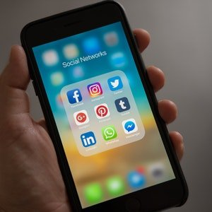 Smartphone with Social Media Apps Onscreen