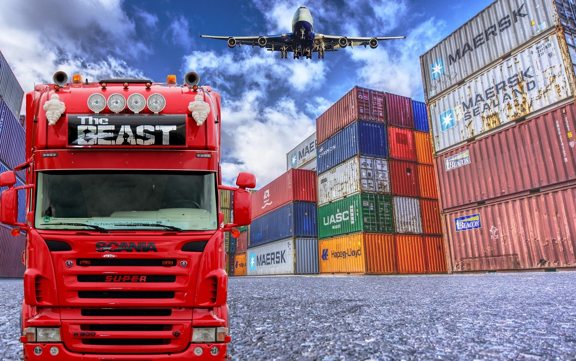 Truck and Shipping Containers